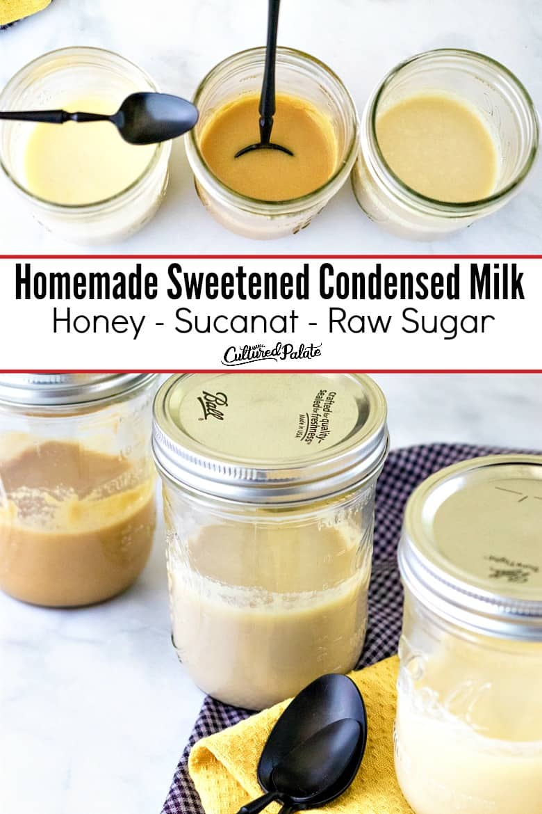 Two images of Sweetened Condensed Milk substitute shown with text overlay.