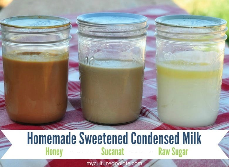 A photo of three jars filled with homemade sweetened condensed milk
