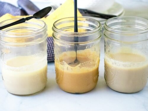 Sweetened Condensed Milk Substitute shown in three jars with different sweeteners.