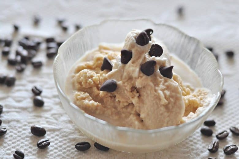 coffee ice cream recipe shown in bowl with chocolate chips on top