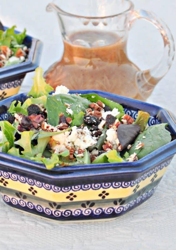 feta salad shown in bowl