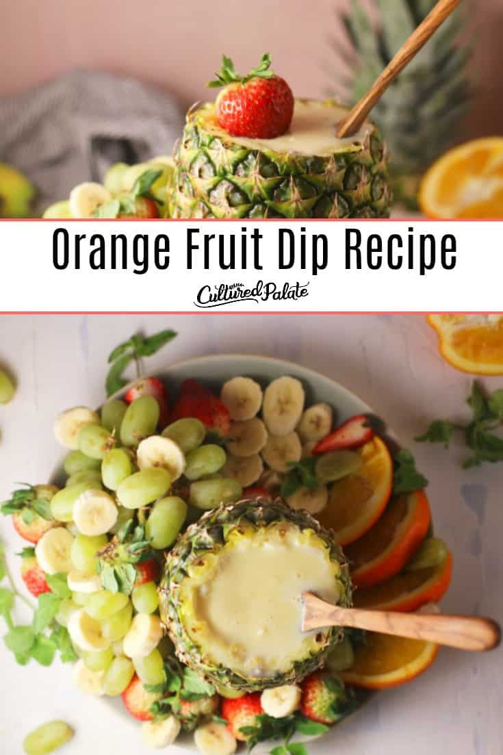 Orange fruit dip shown close and overhead with text overlay.