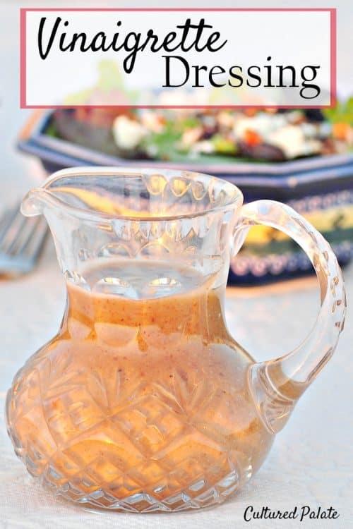 Vinaigrette Dressing shown in crystal pitcher