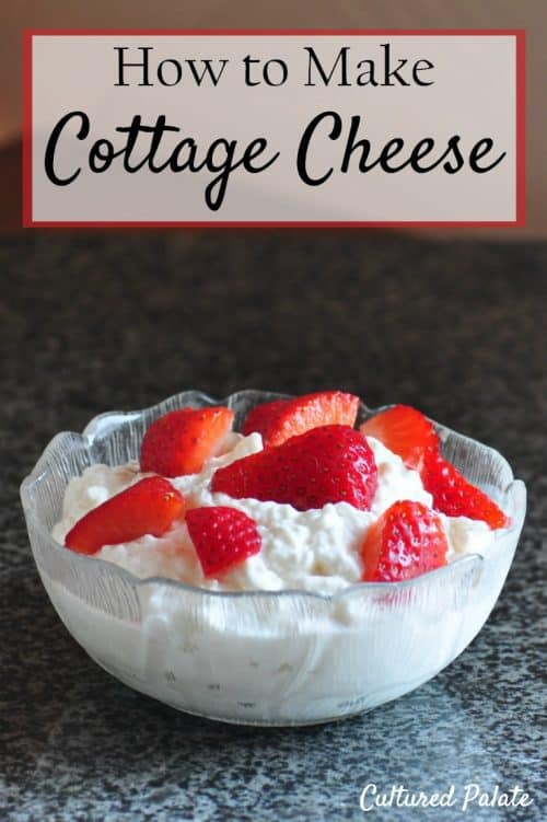 How to Make Cottage Cheese - Cottage Cheese Recipe shown topped with strawberries
