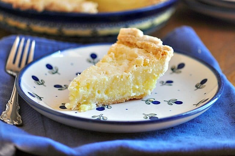Buttermilk Pie Recipe shown with a slice of pie on a plate