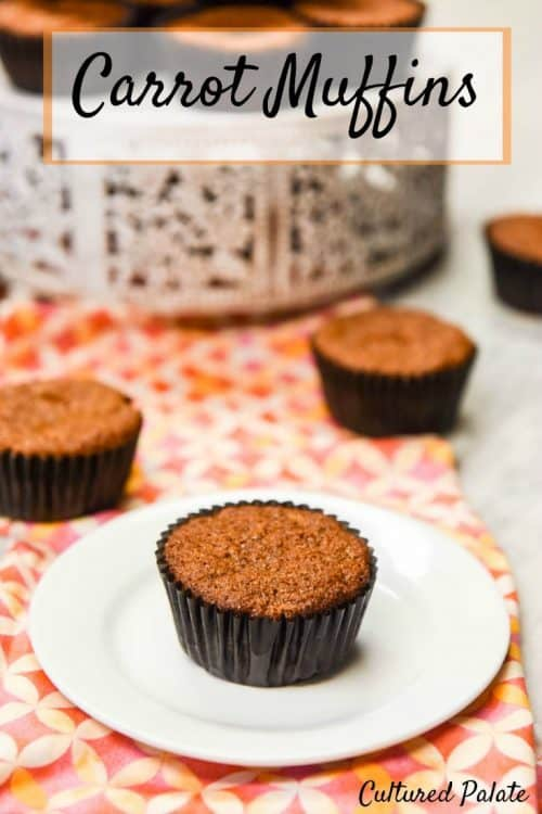 Carrot Muffins - Healthy Muffins shown on table setting with title