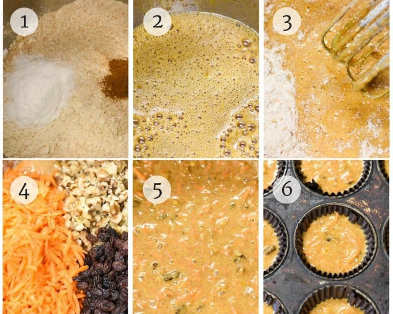 photos of Carrot Muffins - Healthy Muffins step by step process