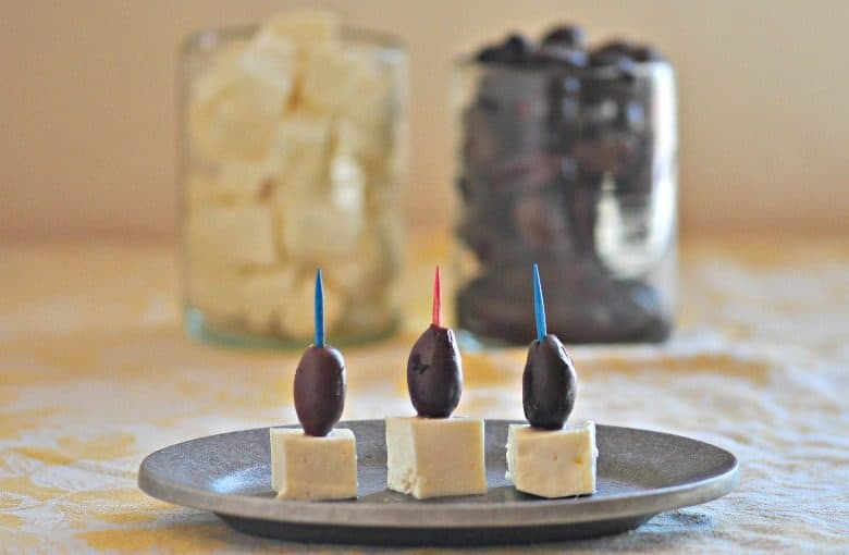 appetizer feta cheese with olives from the post Feta Cheese Recipe - How to Make Feta Cheese
