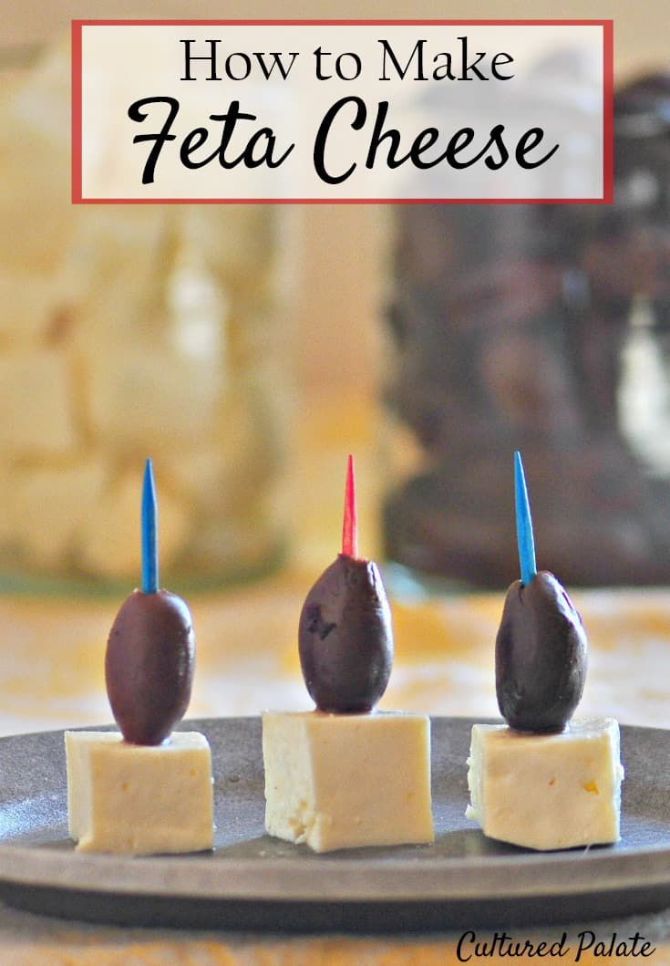 Homemade Feta Cheese Recipe. Learn how to make feta cheese at home with this easy and simple recipe. So delicious and flavorful you'll love this with so many meals. www.myculturedpalate.com #fetacheese #cheesemaking #makingcheese #cheese