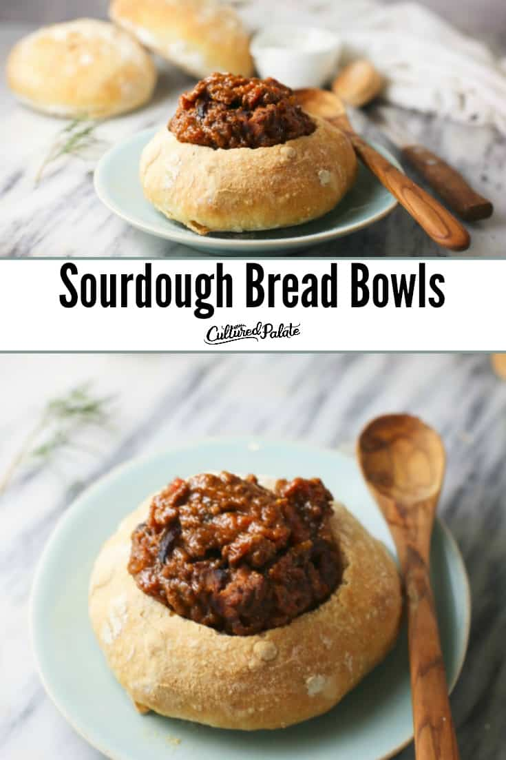 Sourdough Bread Bowls shown from the side and overhead ready to eat with text overlay.
