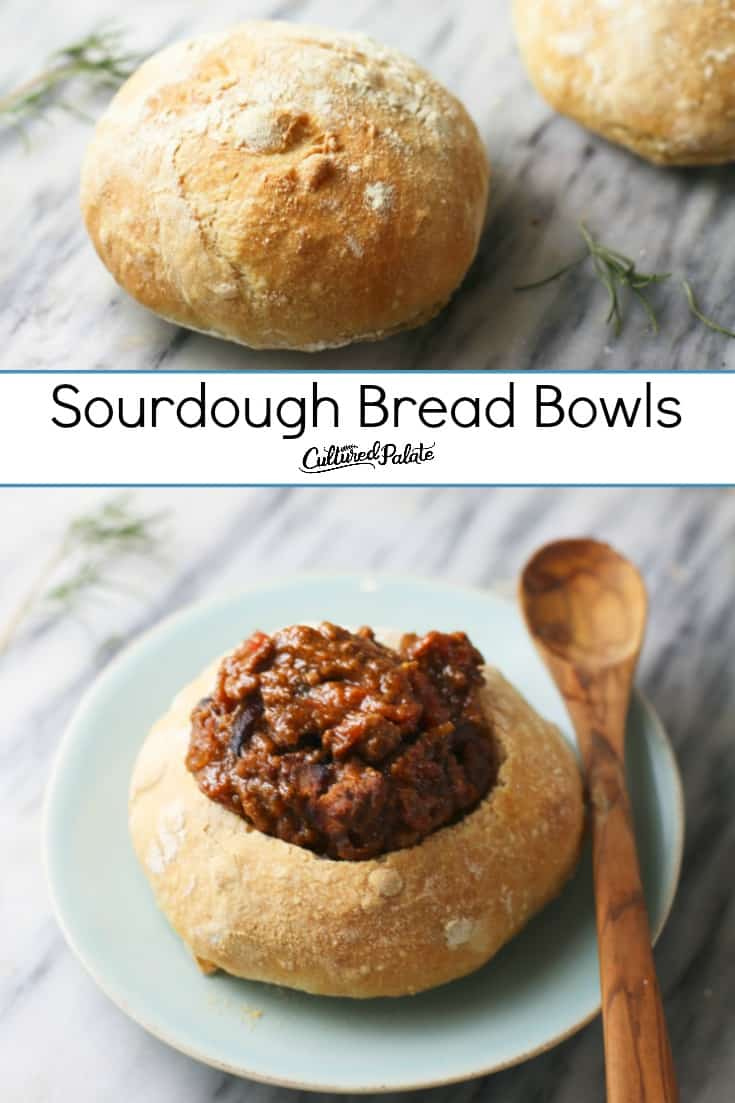 Sourdough Bread Bowls shown before cutting and filled with soup.