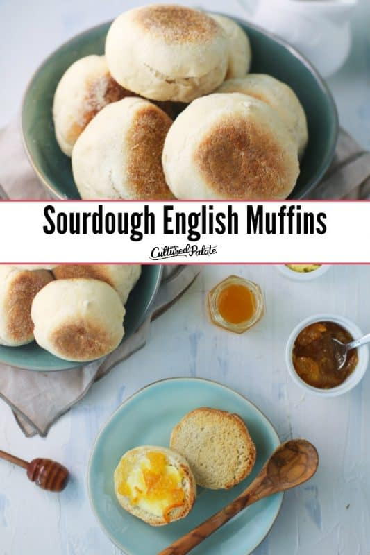 Sourdough English Muffins in a bowl and shown with jam from above with text overlay.