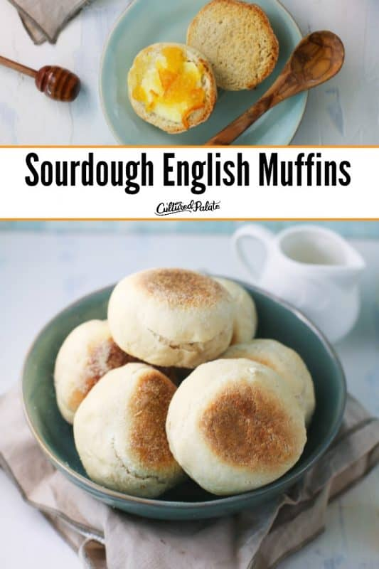 Overhead show of jam covered sourdough English muffins and some in a bowl with text overlay.