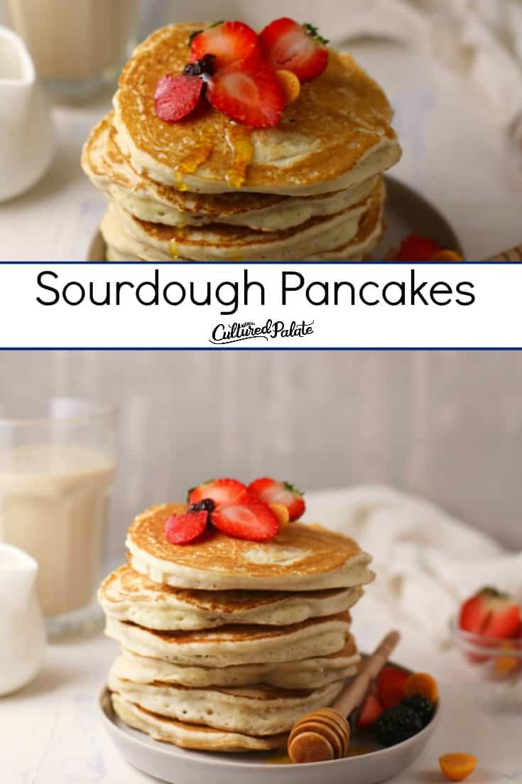 Overhead view and side view of strawberry topped Sourdough Pancakes.