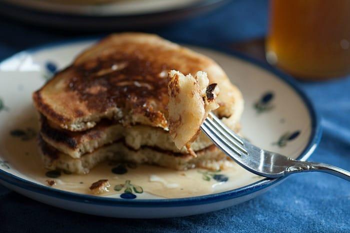 bite of sourdough pancakes
