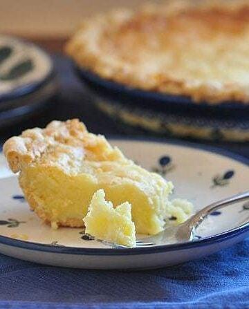 buttermilk pie made with kefir on a plate