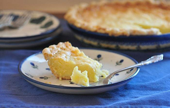 buttermilk pie made with kefir on a plate