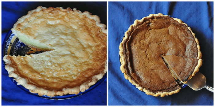 buttermilk pie with kefir - sugar sweetened on left, sucanat sweetened on right