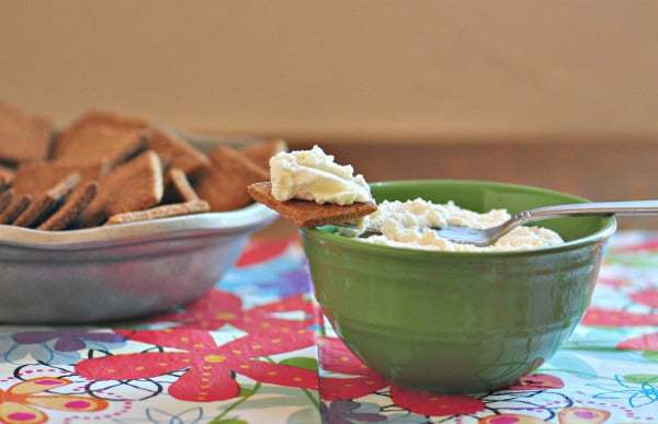 ricotta cheese recipe shown made on a cracker