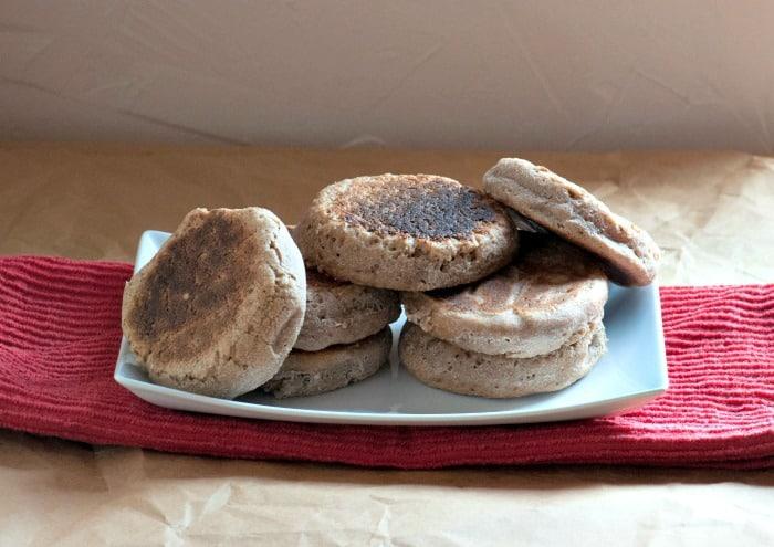 sourdough English muffins on platter