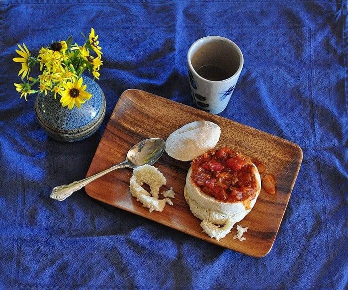 sourdough bread soup bowl plated