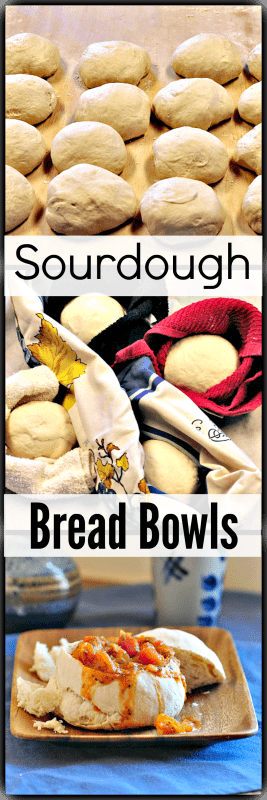 a long image of the process for making bread bowls with sourdough bread