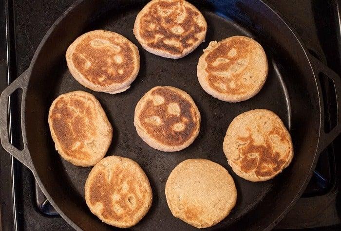 sourdough pancakes in large cast iron skillet