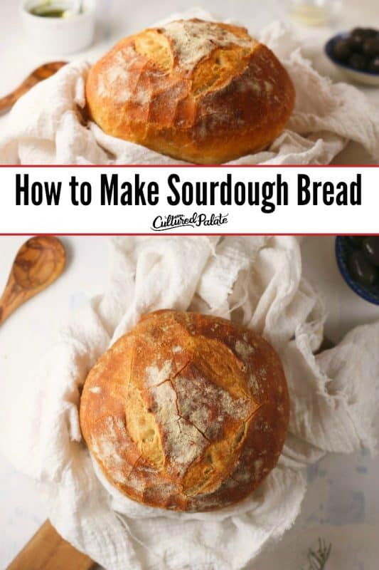Basic Sourdough Bread shown from overhead and from side with text overlay.