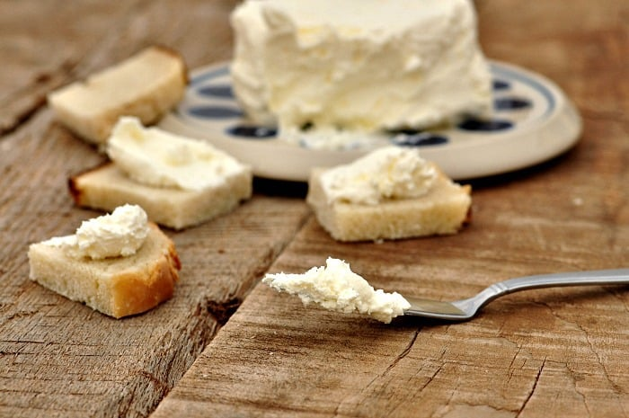 cream cheese on knife