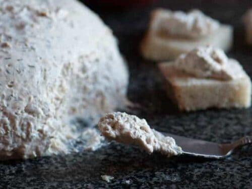 Salmon mousse spread on bread