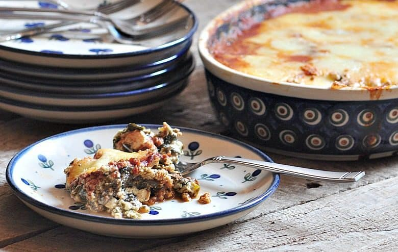 Easy Eggplant Lasagna - Vegetarian Lasagna shown on plate ready to eat