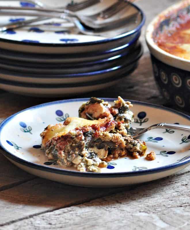 Easy Eggplant Lasagna - Vegetarian Lasagna shown on table ready to eat
