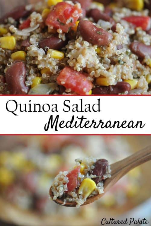 Easy Quinoa Salad Mediterranean collage with close-up of salad on top and salad on fork at the bottom