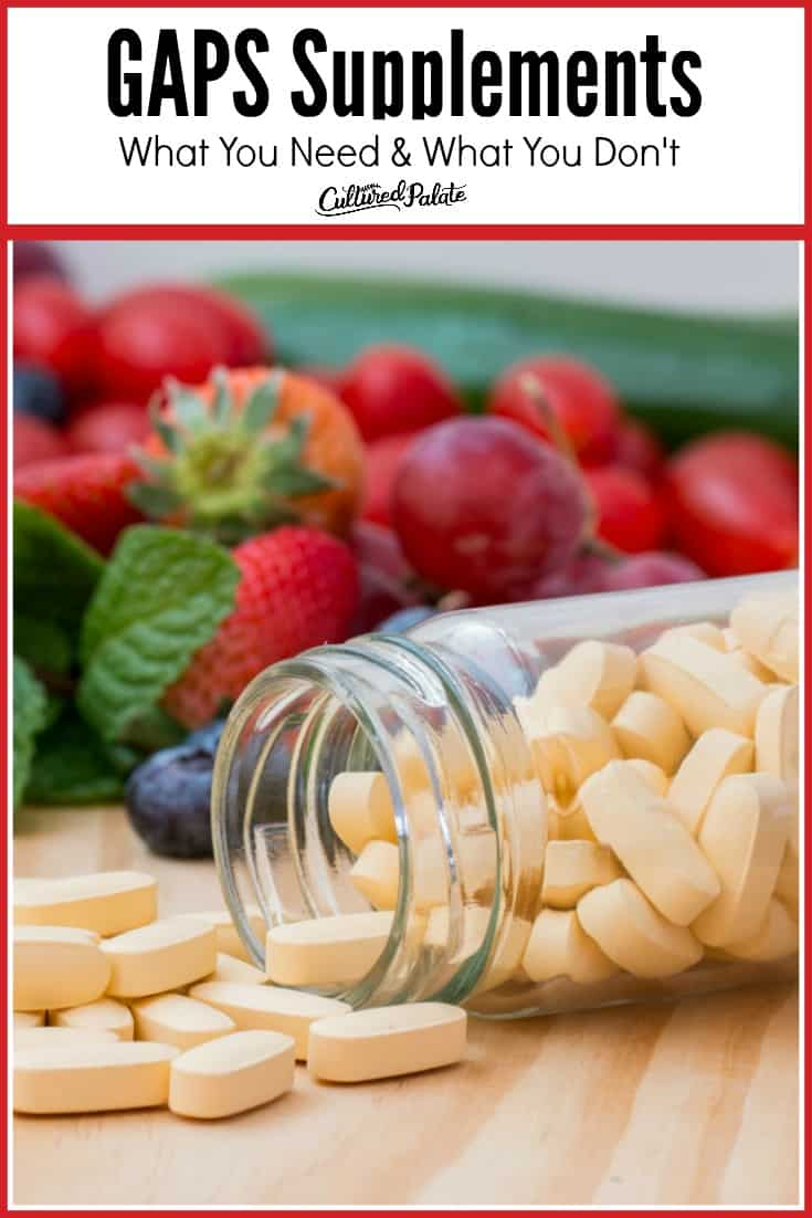 """Text overlay titles """"GAPS Supplements"""" on image of vitamins, bottle and berries."""