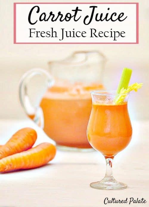 Carrot Juice Recipe shown in glass with celery in it