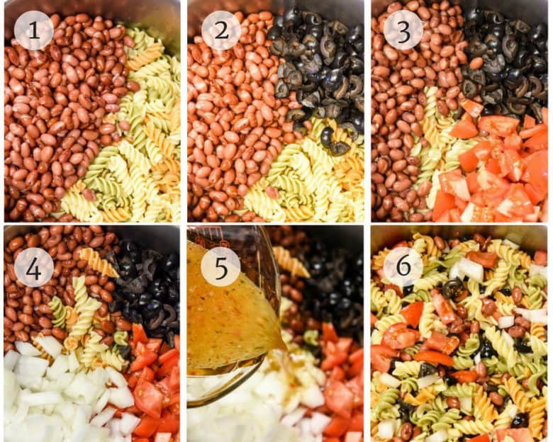 Steps shown for making the Simple Pasta Salad recipe