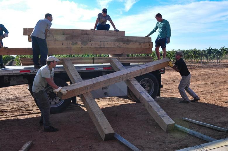 unloading oak hardwood