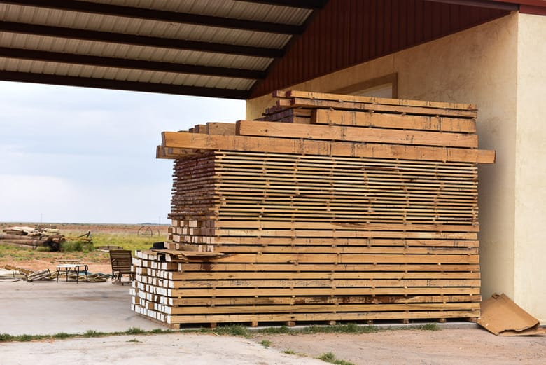 oak hardwood stacked and drying