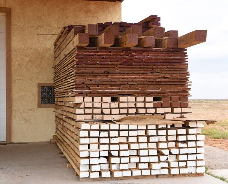 oak hardwood lumber painted for drying