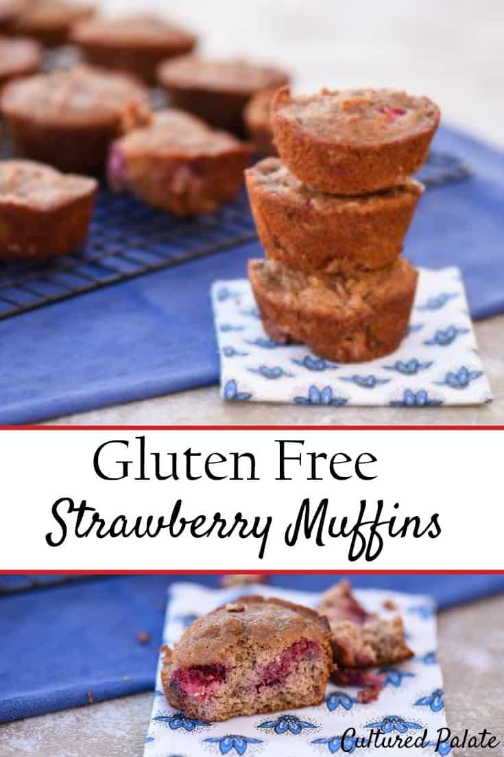 Gluten Free Strawberry Muffins. Paleo muffins that are delicious and healthy. Gluten free muffins are so easy and great for breakfast or as a snack. www.myculturedpalate.com #strawberry #muffins #easyrecipes #paleo #paleomuffins #breakfast #glutenfree