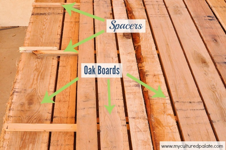 oak boards and spacers for drying lumber