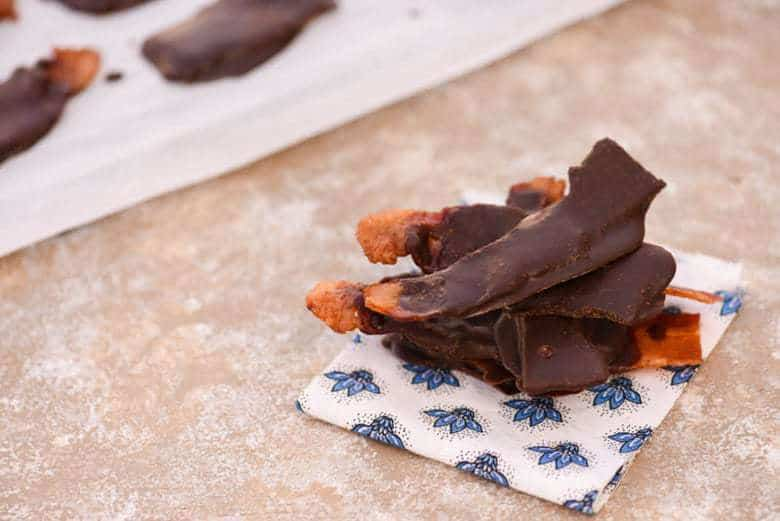 Healthy Chocolate Covered Bacon on a work surface