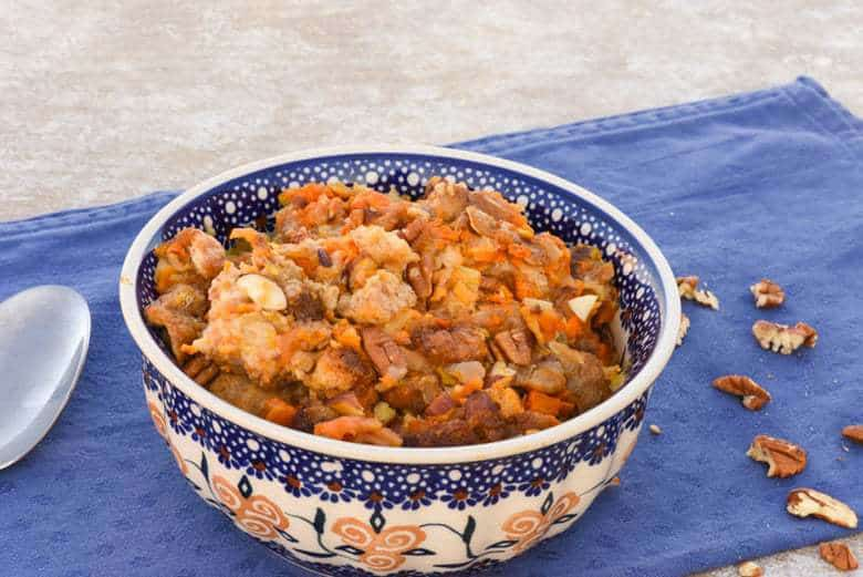 A side shot of sweet potato stuffing in a bowl