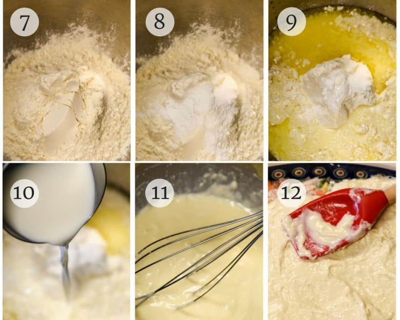 Steps for making homemade chicken pot pie crust shown step by step