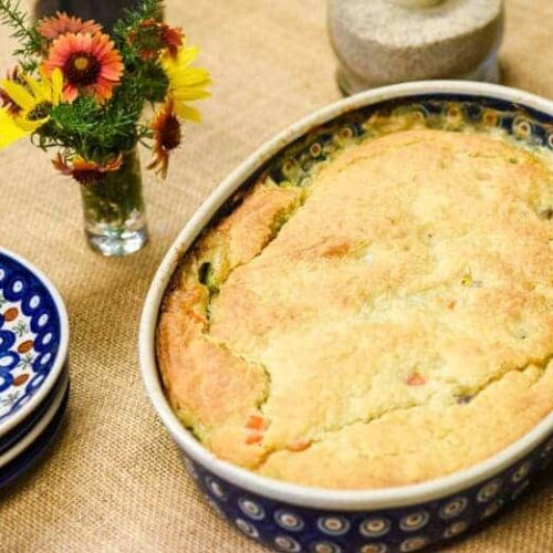 Homemade Chicken Pot Pie Recipe shown ready to eat on table