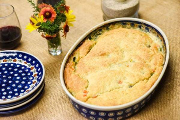 Homemade Chicken Pot Pie shown on table
