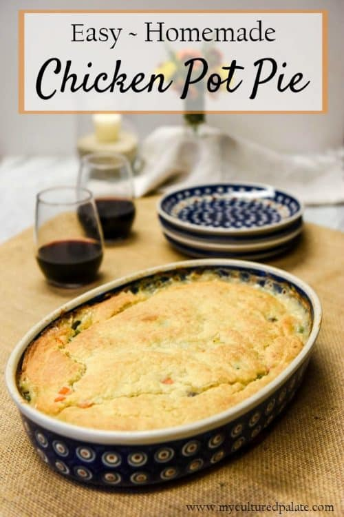 Homemade Chicken Pot Pie Recipe shown on table with title