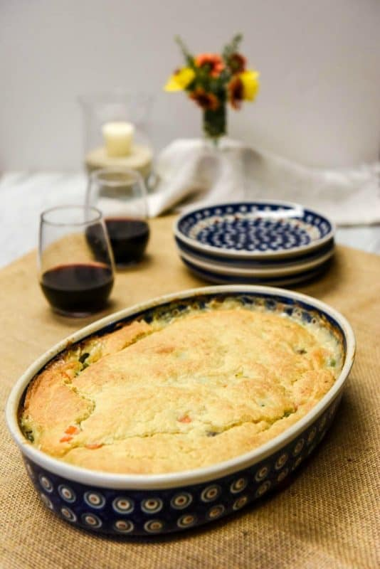 Homemade Chicken Pot Pie Recipe shown baked on table ready to serve