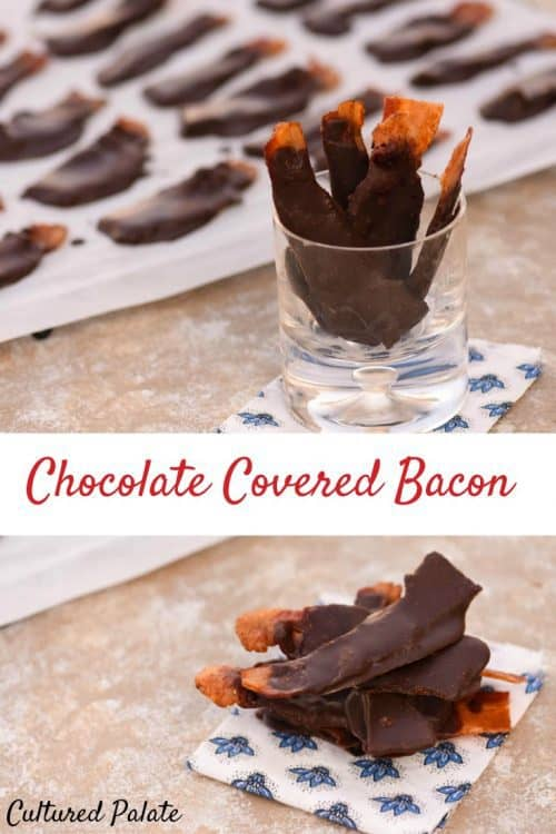 Chocolate Covered Bacon shown in a collage stacked and in a glass