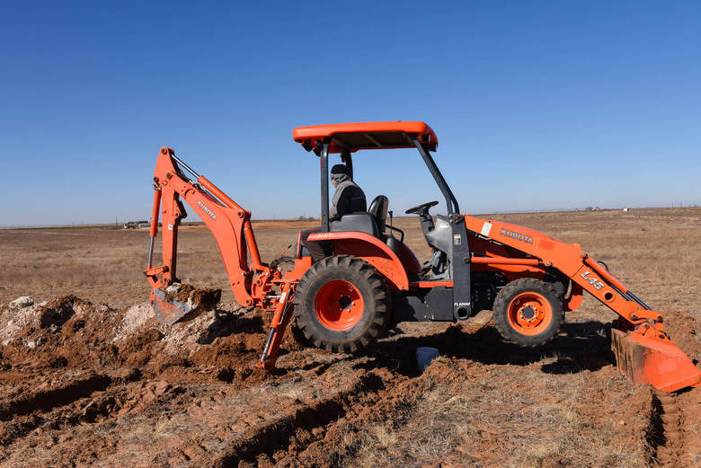 Preparation for Planting Grapevines - Ditching for Irrigation